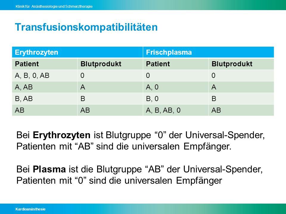 Kardioanästhesie Klinik für Anästhesiologie und Schmerztherapie Transfusionskompatibilitäten ErythrozytenFrischplasma PatientBlutproduktPatientBlutpro