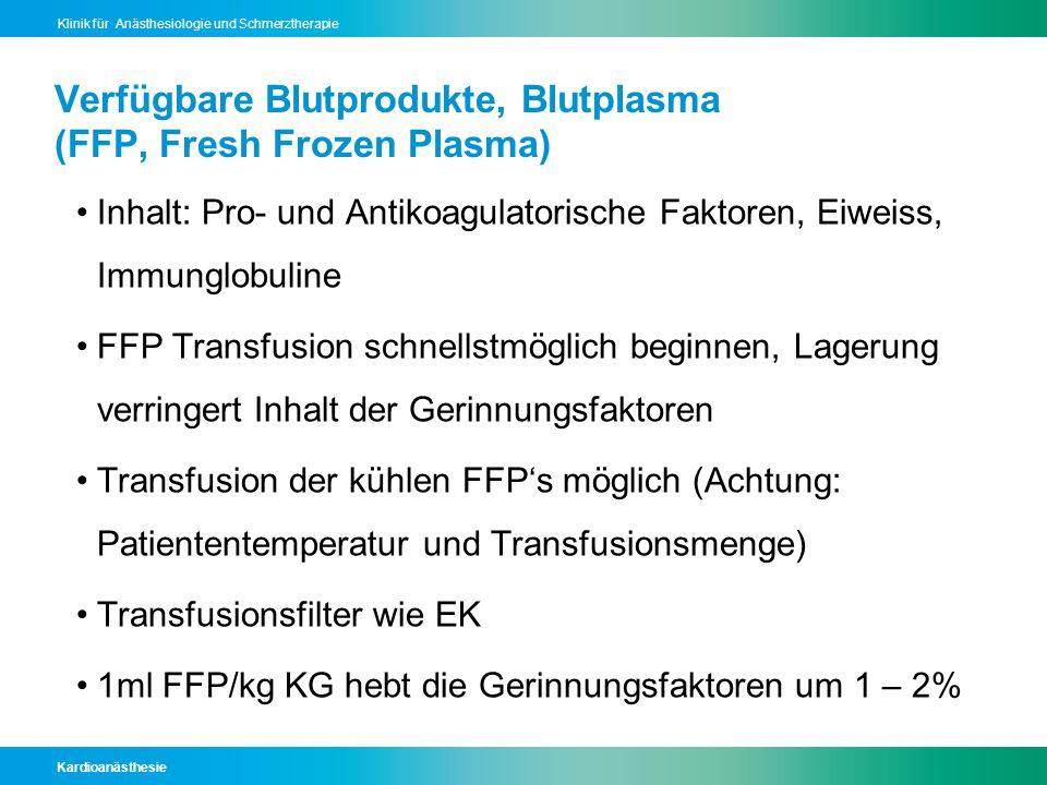 Kardioanästhesie Klinik für Anästhesiologie und Schmerztherapie Verfügbare Blutprodukte, Blutplasma (FFP, Fresh Frozen Plasma) Inhalt: Pro- und Antiko