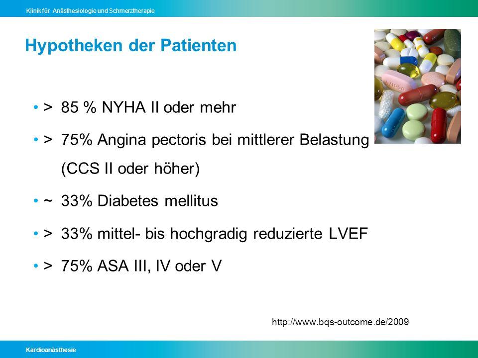 Kardioanästhesie Klinik für Anästhesiologie und Schmerztherapie Hypotheken der Patienten >85 % NYHA II oder mehr >75% Angina pectoris bei mittlerer Be