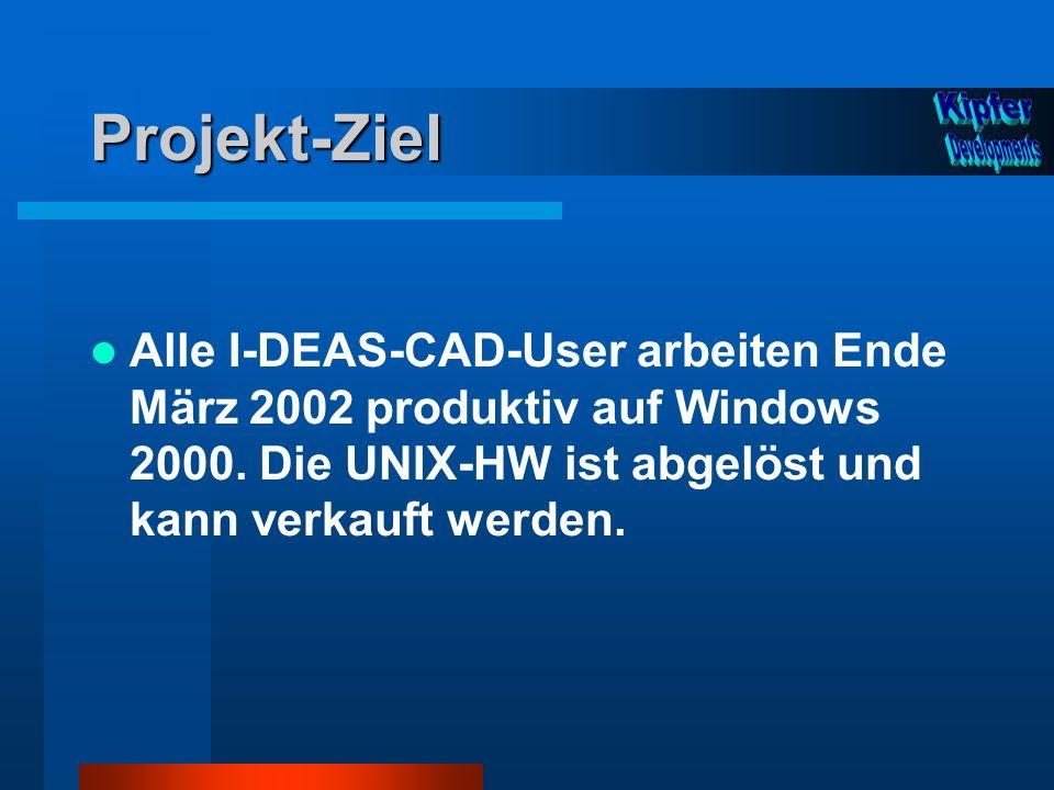 Projekt-Ziel Alle I-DEAS-CAD-User arbeiten Ende März 2002 produktiv auf Windows 2000. Die UNIX-HW ist abgelöst und kann verkauft werden.