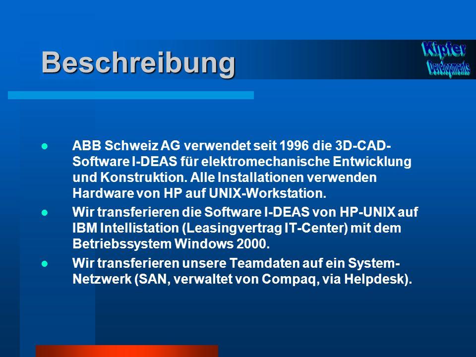 Beschreibung ABB Schweiz AG verwendet seit 1996 die 3D-CAD- Software I-DEAS für elektromechanische Entwicklung und Konstruktion. Alle Installationen v