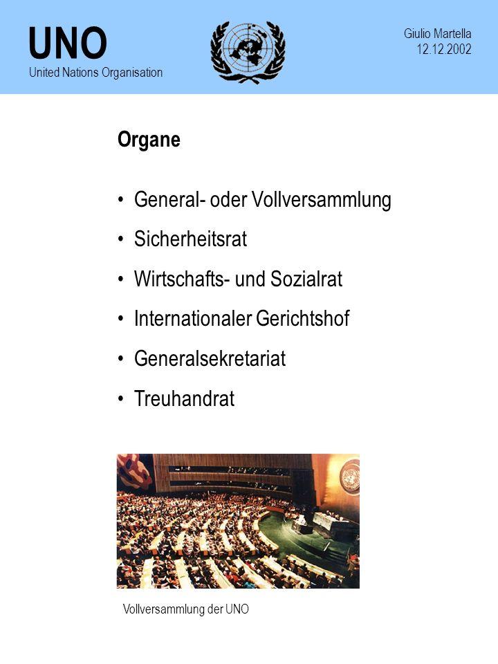 UNO Giulio Martella 12.12.2002 United Nations Organisation Organe General- oder Vollversammlung Sicherheitsrat Wirtschafts- und Sozialrat Internationa