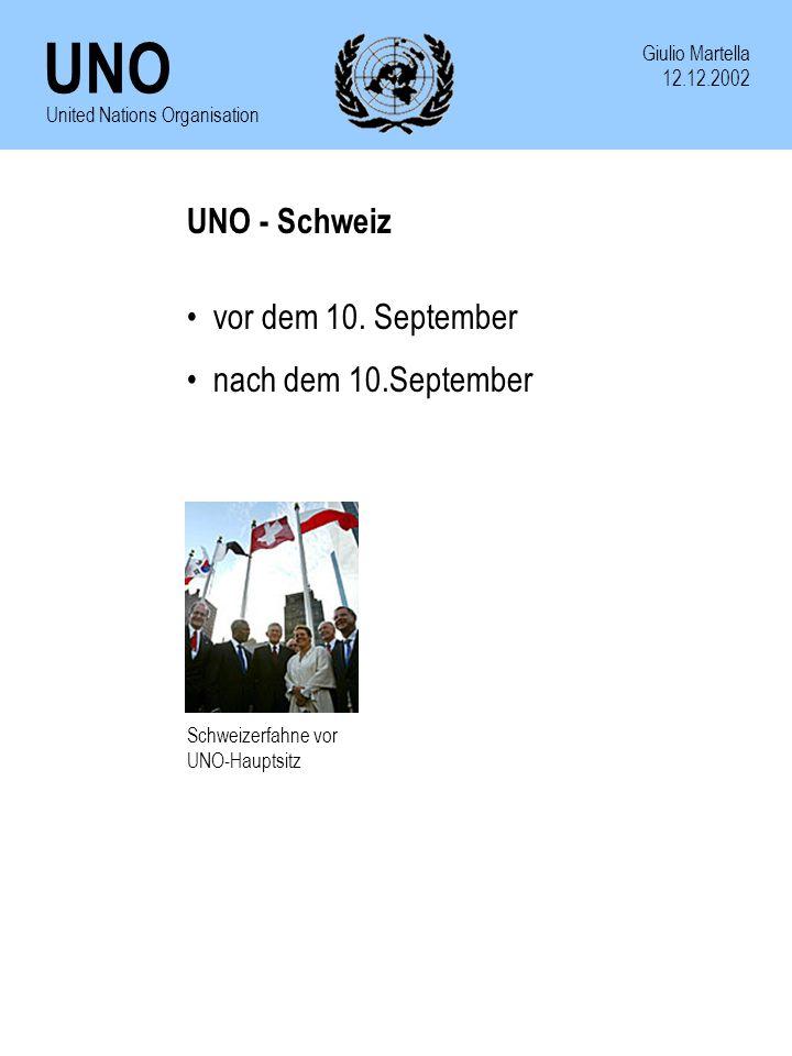 UNO Giulio Martella 12.12.2002 United Nations Organisation UNO - Schweiz vor dem 10. September nach dem 10.September Schweizerfahne vor UNO-Hauptsitz