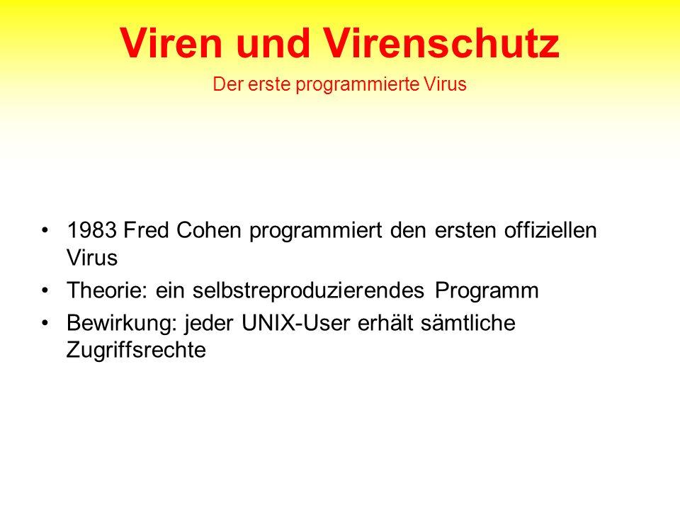Viren und Virenschutz Der erste programmierte Virus 1983 Fred Cohen programmiert den ersten offiziellen Virus Theorie: ein selbstreproduzierendes Prog