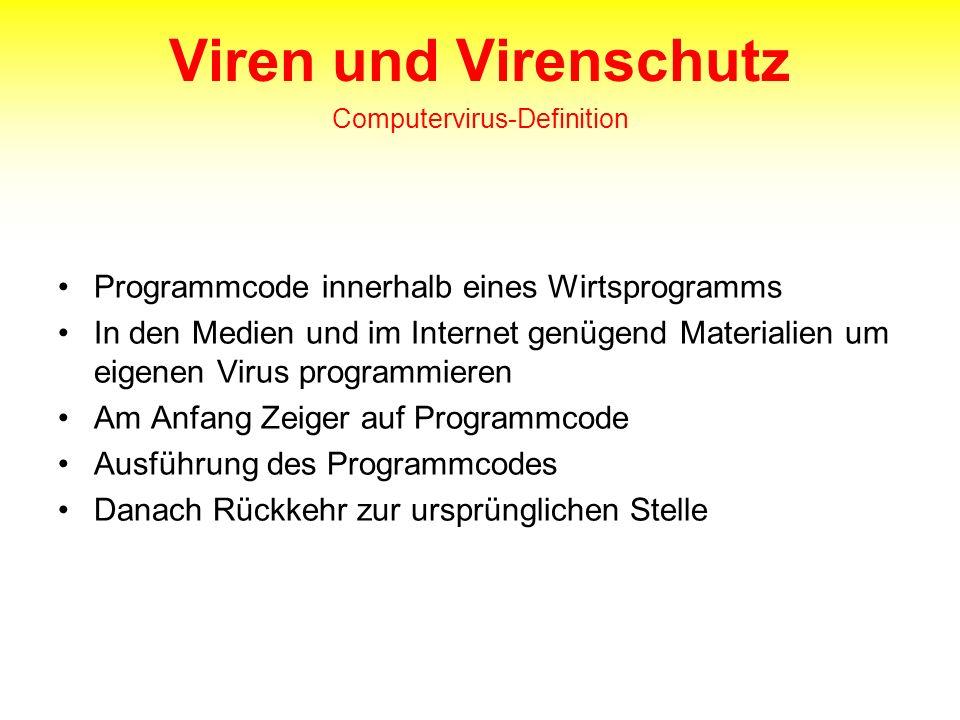 Viren und Virenschutz Computervirus-Definition Programmcode innerhalb eines Wirtsprogramms In den Medien und im Internet genügend Materialien um eigen