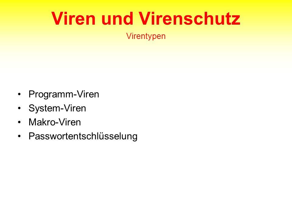 Viren und Virenschutz Virentypen Programm-Viren System-Viren Makro-Viren Passwortentschlüsselung