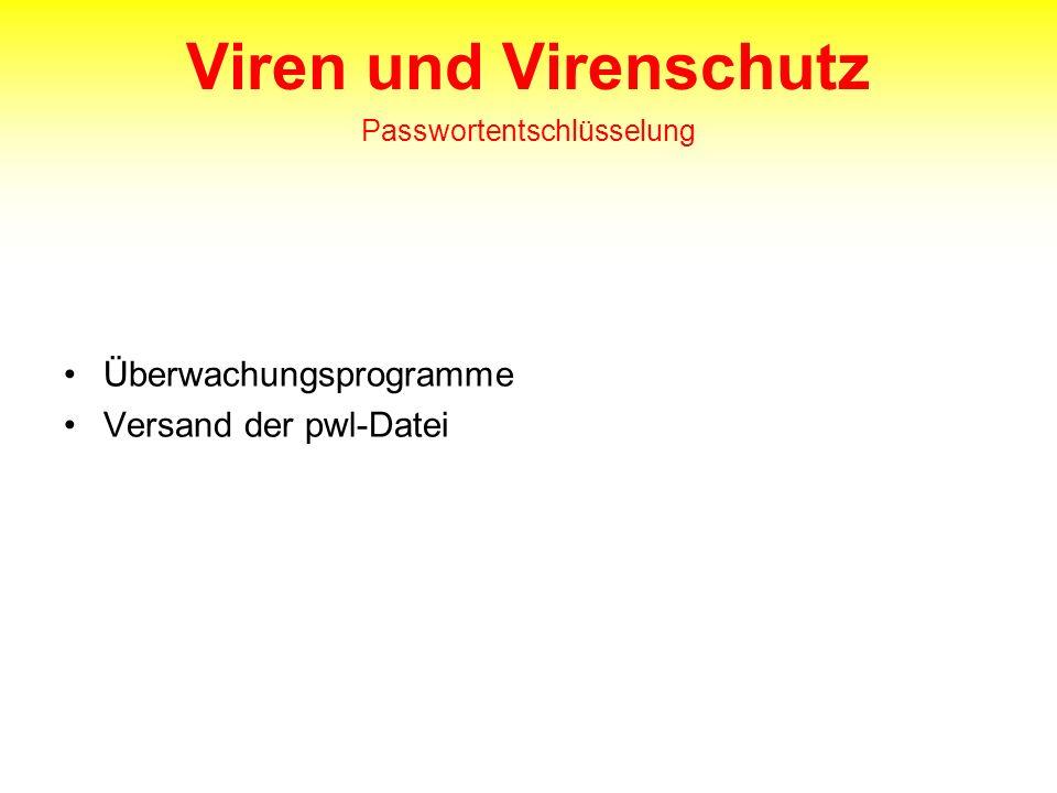 Viren und Virenschutz Passwortentschlüsselung Überwachungsprogramme Versand der pwl-Datei