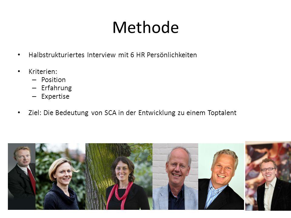 Methode Halbstrukturiertes Interview mit 6 HR Persönlichkeiten Kriterien: – Position – Erfahrung – Expertise Ziel: Die Bedeutung von SCA in der Entwic