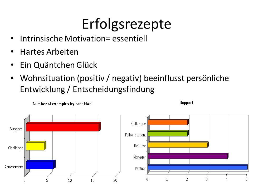 Erfolgsrezepte Intrinsische Motivation= essentiell Hartes Arbeiten Ein Quäntchen Glück Wohnsituation (positiv / negativ) beeinflusst persönliche Entwi