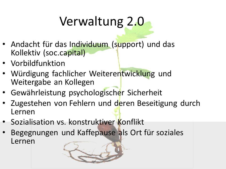 Verwaltung 2.0 Andacht für das Individuum (support) und das Kollektiv (soc.capital) Vorbildfunktion Würdigung fachlicher Weiterentwicklung und Weiterg