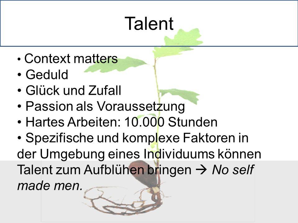 Context matters Geduld Glück und Zufall Passion als Voraussetzung Hartes Arbeiten: 10.000 Stunden Spezifische und komplexe Faktoren in der Umgebung ei