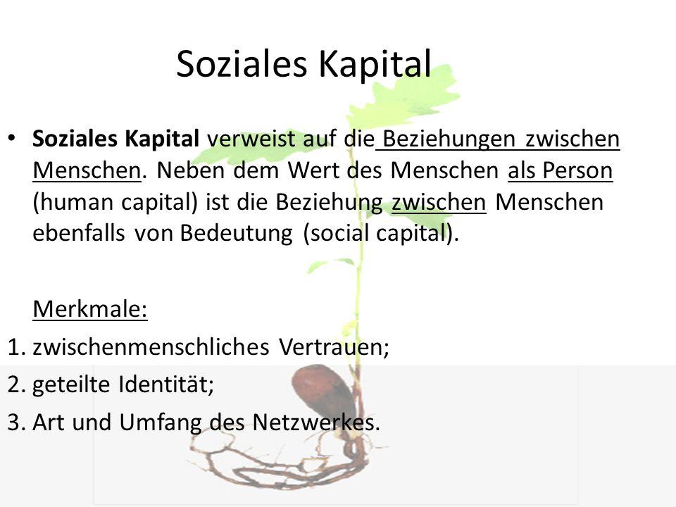 Soziales Kapital Soziales Kapital verweist auf die Beziehungen zwischen Menschen. Neben dem Wert des Menschen als Person (human capital) ist die Bezie