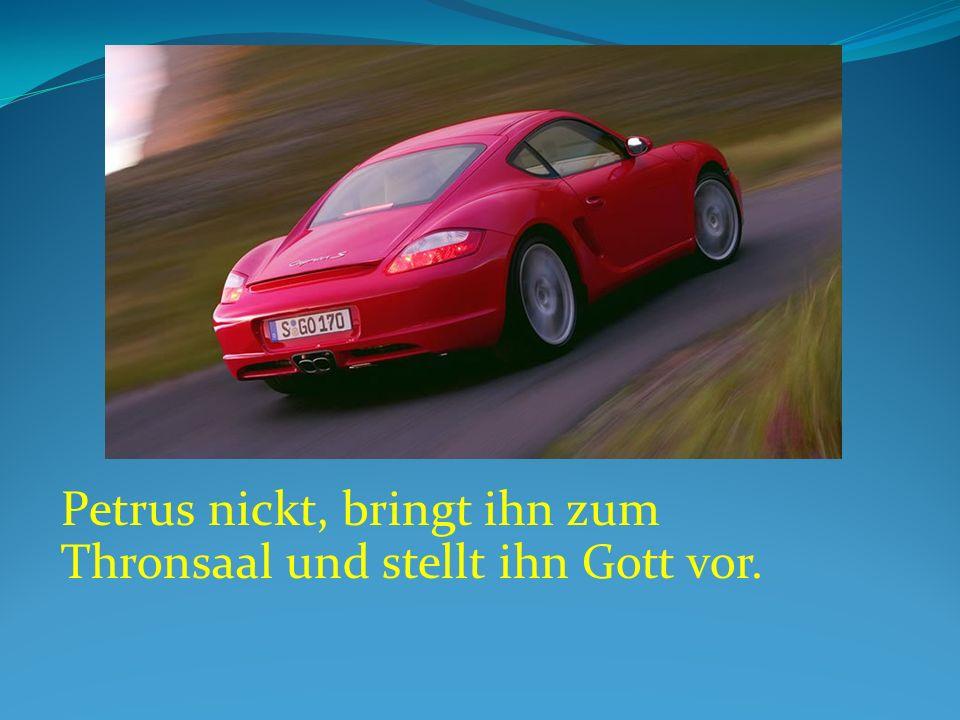 Petrus nickt, bringt ihn zum Thronsaal und stellt ihn Gott vor.