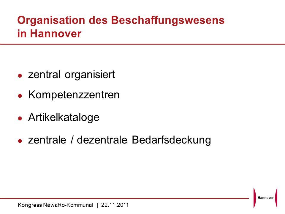 Organisation des Beschaffungswesens in Hannover zentral organisiert Kompetenzzentren Artikelkataloge zentrale / dezentrale Bedarfsdeckung Kongress Naw