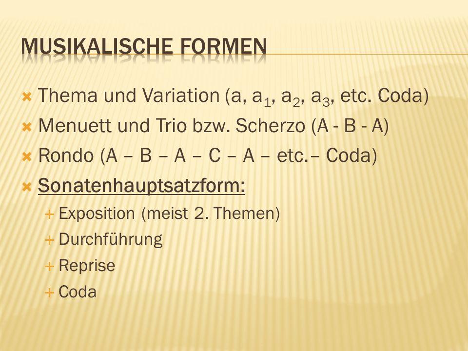 Thema und Variation (a, a 1, a 2, a 3, etc. Coda) Menuett und Trio bzw. Scherzo (A - B - A) Rondo (A – B – A – C – A – etc.– Coda) Sonatenhauptsatzfor