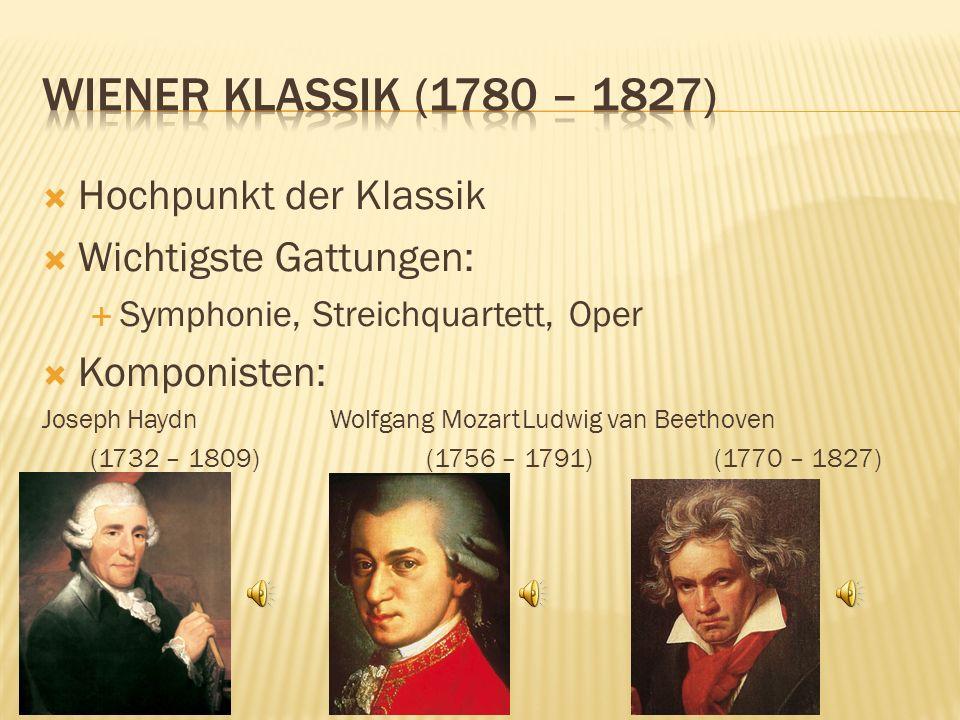 Hochpunkt der Klassik Wichtigste Gattungen: Symphonie, Streichquartett, Oper Komponisten: Joseph HaydnWolfgang MozartLudwig van Beethoven (1732 – 1809