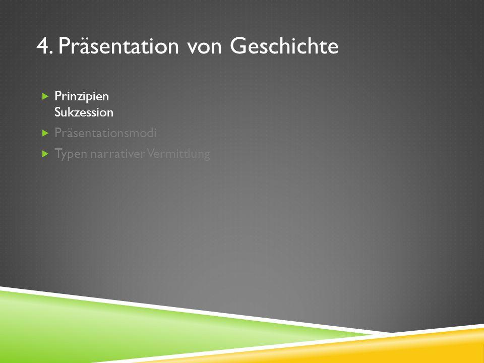 4. Präsentation von Geschichte Prinzipien Sukzession Präsentationsmodi Typen narrativer Vermittlung