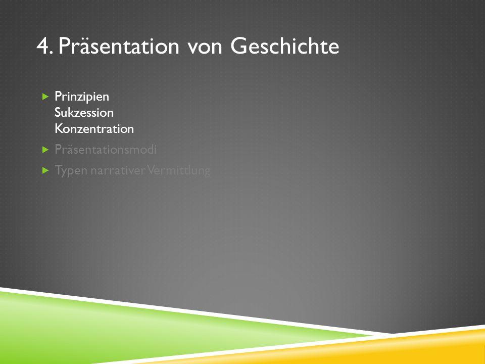4. Präsentation von Geschichte Prinzipien Sukzession Konzentration Präsentationsmodi Typen narrativer Vermittlung
