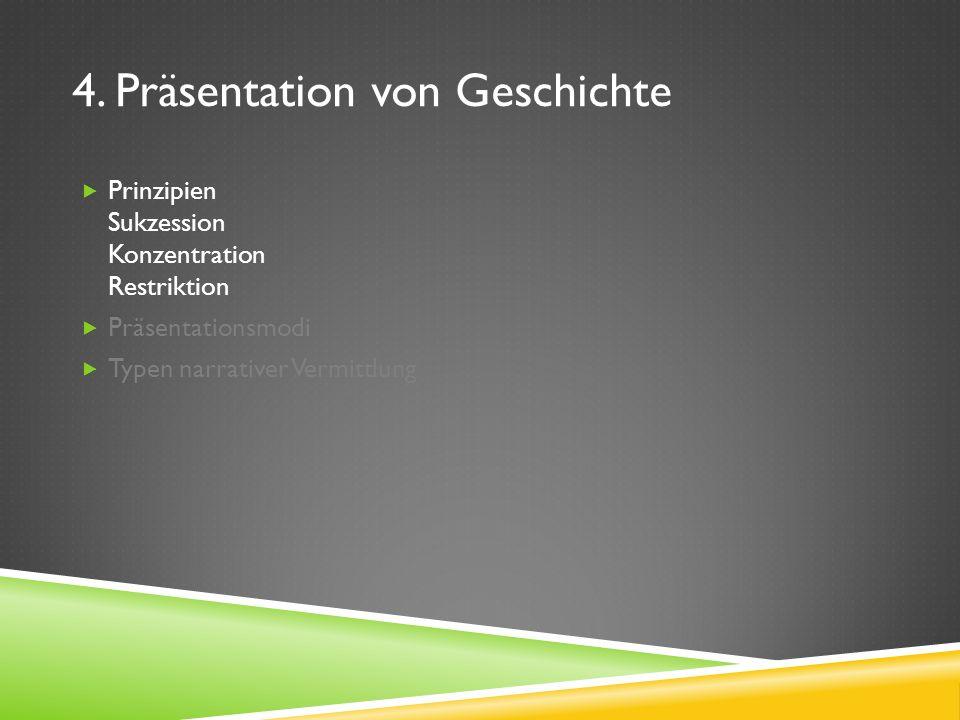 4. Präsentation von Geschichte Prinzipien Sukzession Konzentration Restriktion Präsentationsmodi Typen narrativer Vermittlung