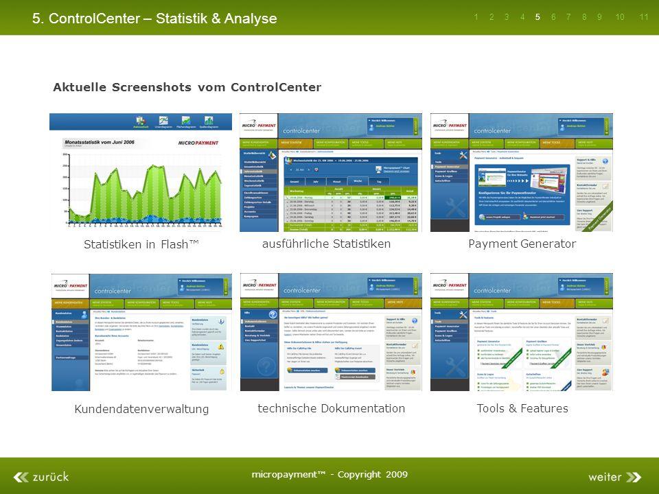 5. ControlCenter – Statistik & Analyse Aktuelle Screenshots vom ControlCenter Statistiken in Flash ausführliche StatistikenPayment Generator Kundendat