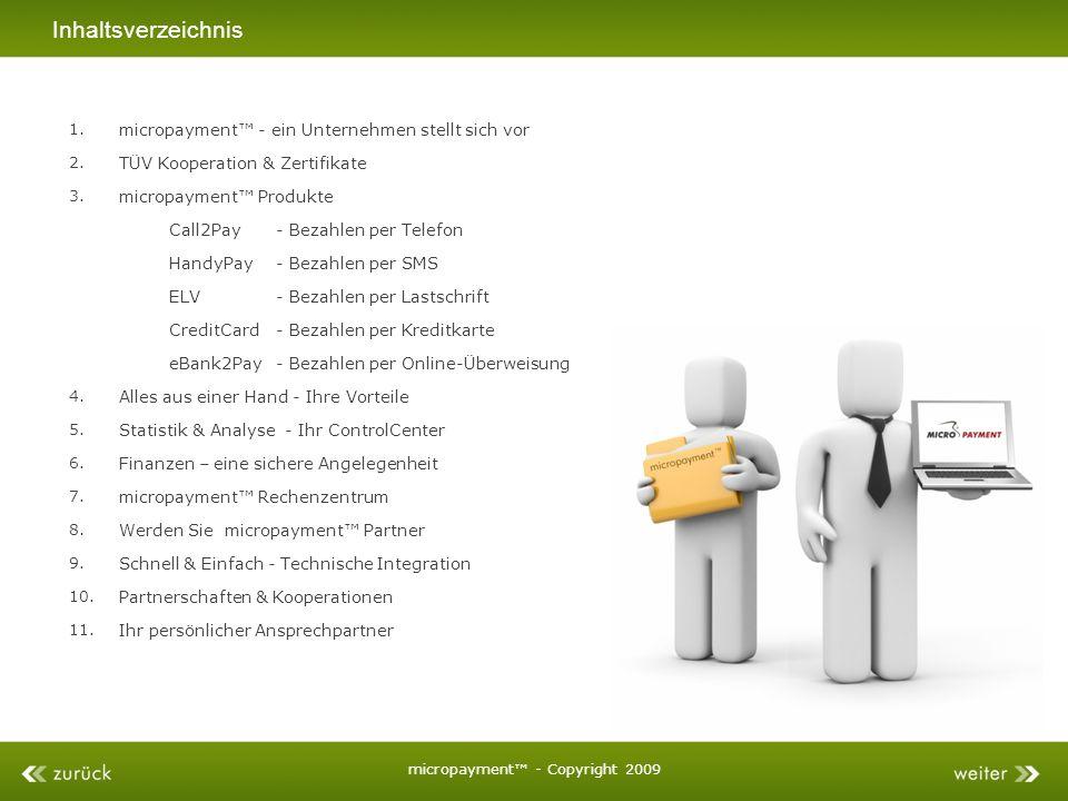 Inhaltsverzeichnis micropayment - Copyright 2009 Alles aus einer Hand - Ihre Vorteile Statistik & Analyse - Ihr ControlCenter Finanzen – eine sichere