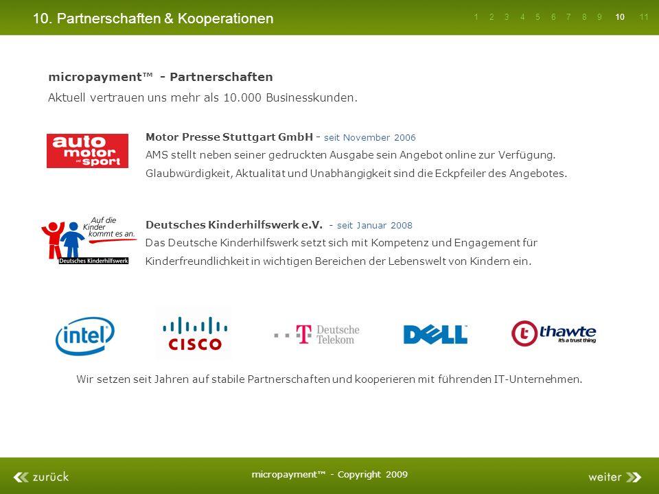 10. Partnerschaften & Kooperationen micropayment - Partnerschaften Aktuell vertrauen uns mehr als 10.000 Businesskunden. Motor Presse Stuttgart GmbH -