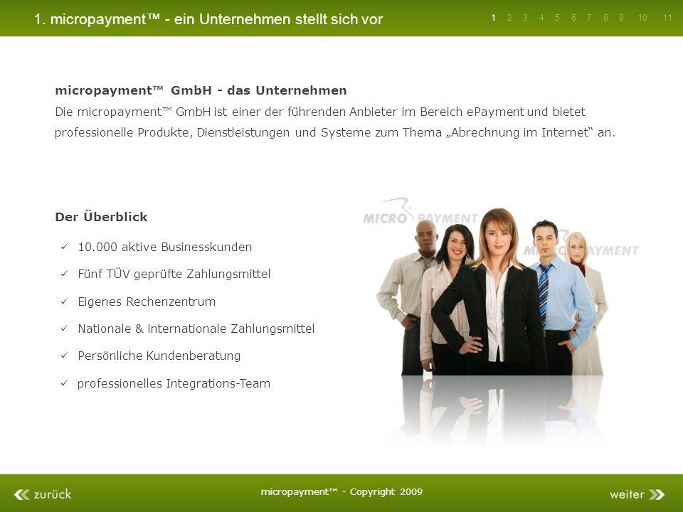 1. micropayment - ein Unternehmen stellt sich vor micropayment GmbH - das Unternehmen Die micropayment GmbH ist einer der führenden Anbieter im Bereic