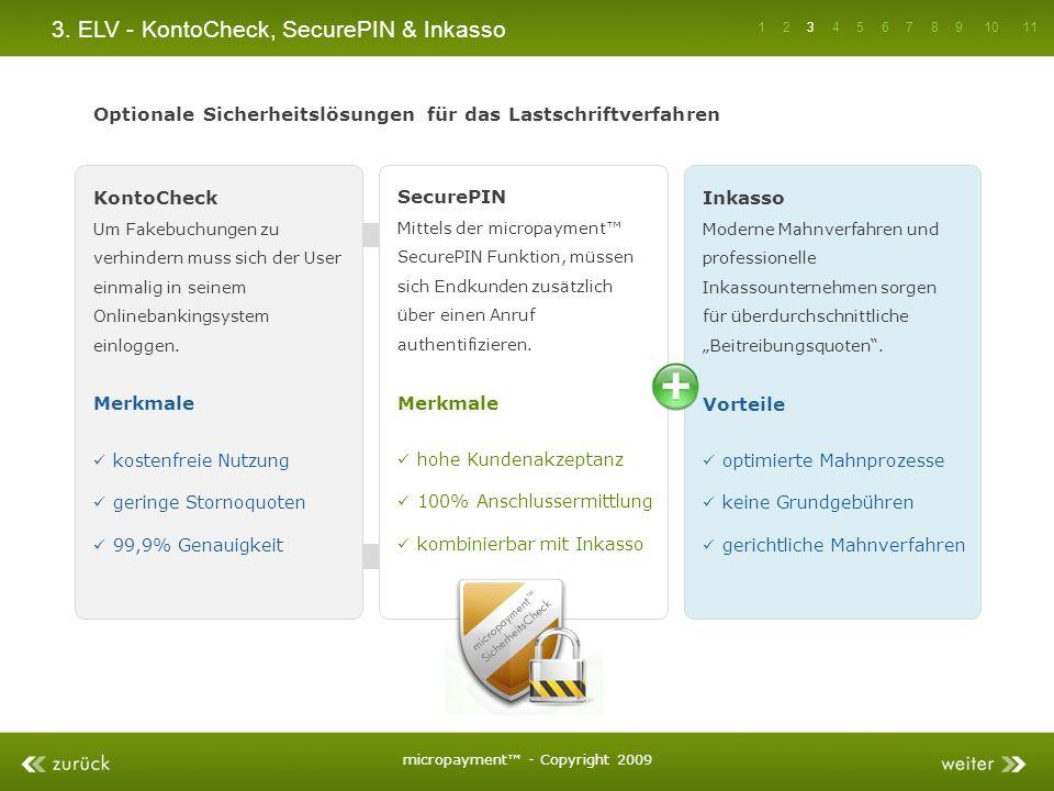 3. ELV - KontoCheck, SecurePIN & Inkasso KontoCheck Um Fakebuchungen zu verhindern muss sich der User einmalig in seinem Onlinebankingsystem einloggen