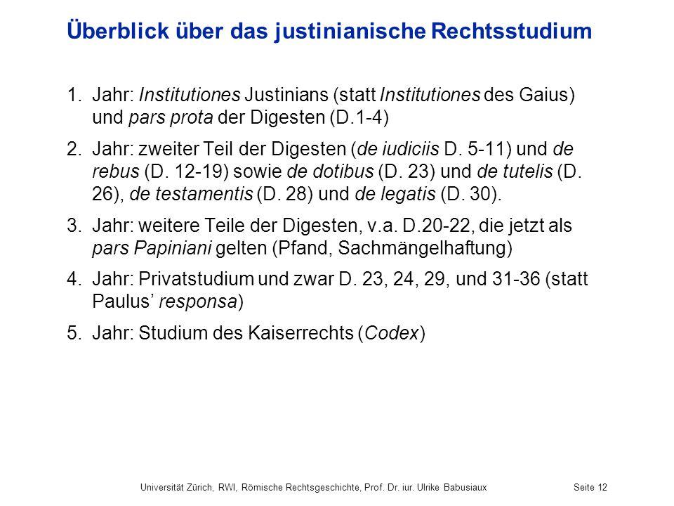 Überblick über das justinianische Rechtsstudium 1.Jahr: Institutiones Justinians (statt Institutiones des Gaius) und pars prota der Digesten (D.1-4) 2