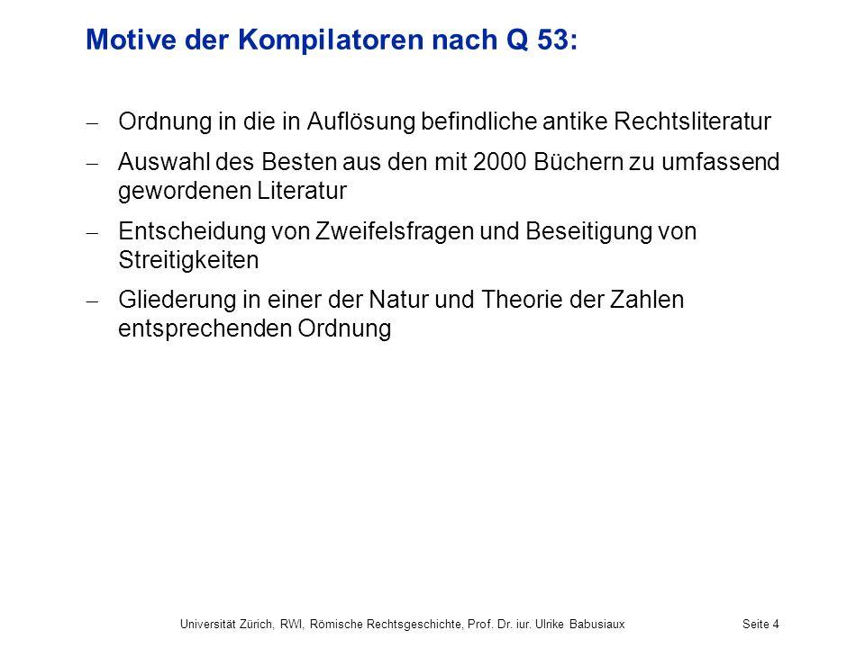 Motive der Kompilatoren nach Q 53: Ordnung in die in Auflösung befindliche antike Rechtsliteratur Auswahl des Besten aus den mit 2000 Büchern zu umfas