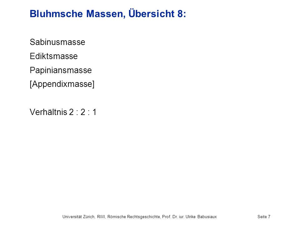 Universität Zürich, RWI, Römische Rechtsgeschichte, Prof. Dr. iur. Ulrike BabusiauxSeite 7 Bluhmsche Massen, Übersicht 8: Sabinusmasse Ediktsmasse Pap