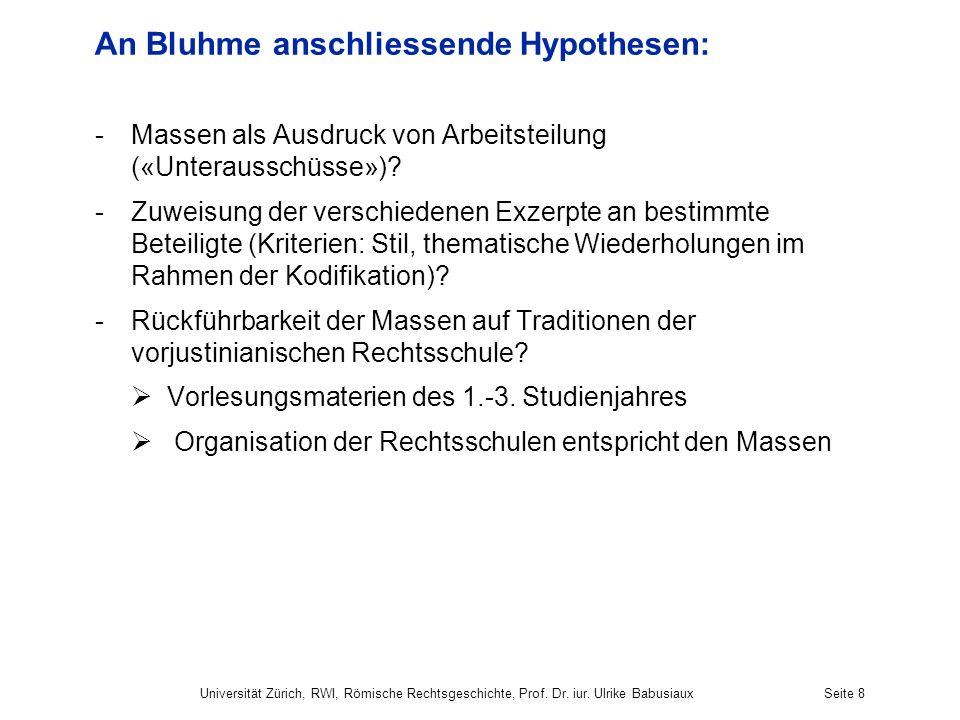 An Bluhme anschliessende Hypothesen: -Massen als Ausdruck von Arbeitsteilung («Unterausschüsse»)? -Zuweisung der verschiedenen Exzerpte an bestimmte B