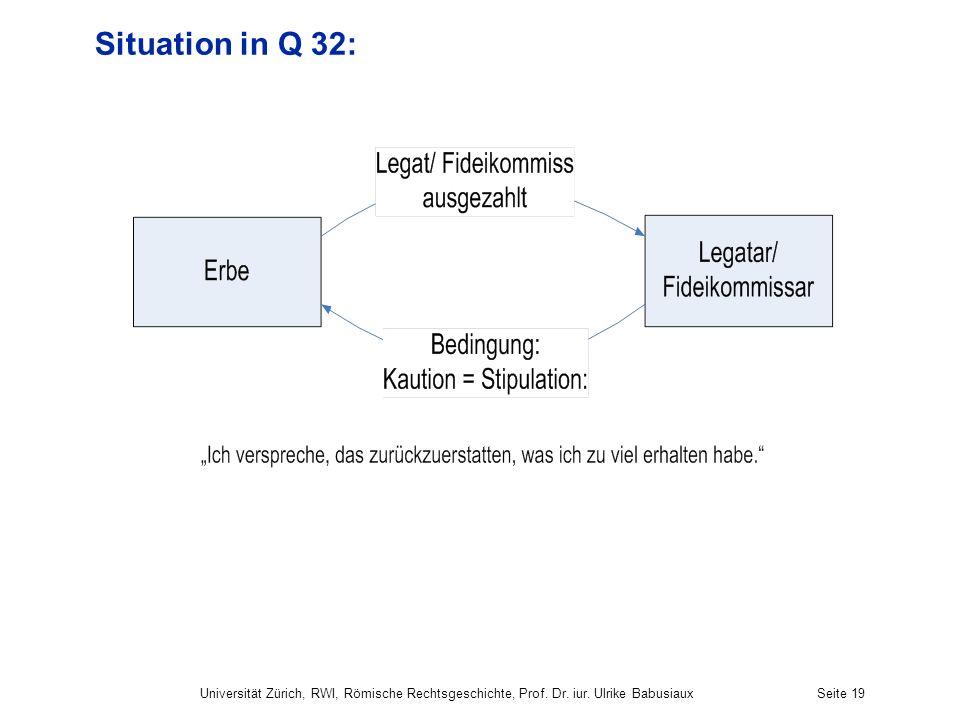 Situation in Q 32: Universität Zürich, RWI, Römische Rechtsgeschichte, Prof. Dr. iur. Ulrike BabusiauxSeite 19