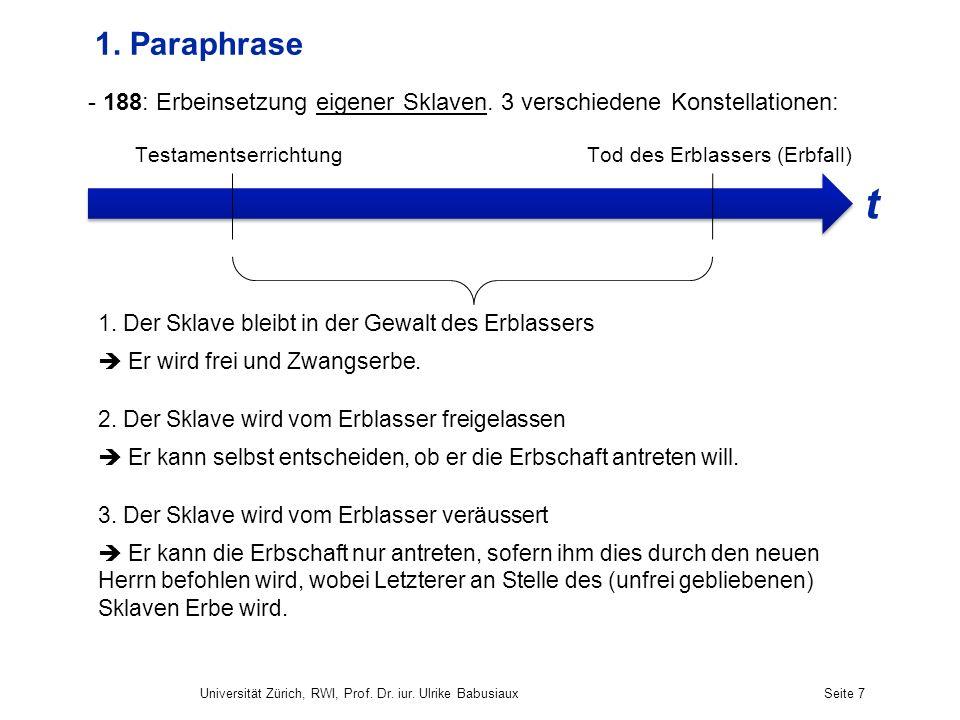 Universität Zürich, RWI, Prof. Dr. iur. Ulrike BabusiauxSeite 7 1. Paraphrase - 188: Erbeinsetzung eigener Sklaven. 3 verschiedene Konstellationen: Te