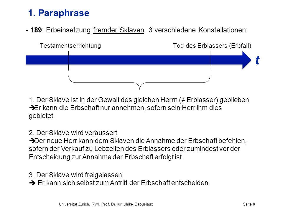 Universität Zürich, RWI, Prof. Dr. iur. Ulrike BabusiauxSeite 8 1. Paraphrase - 189: Erbeinsetzung fremder Sklaven. 3 verschiedene Konstellationen: Te