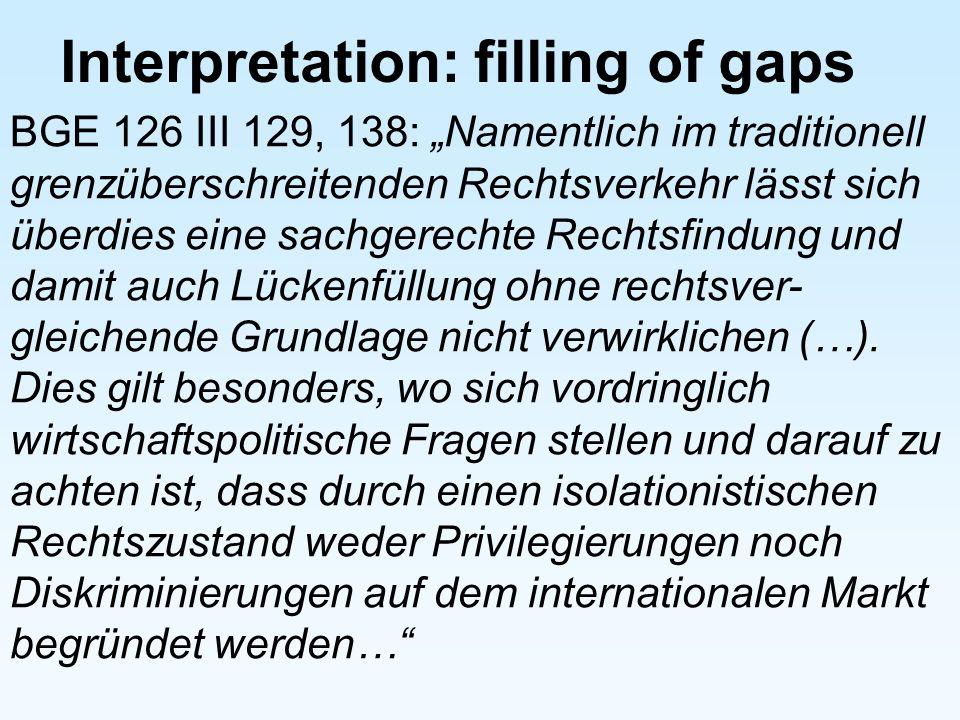 Interpretation: filling of gaps BGE 126 III 129, 138: Namentlich im traditionell grenzüberschreitenden Rechtsverkehr lässt sich überdies eine sachgere