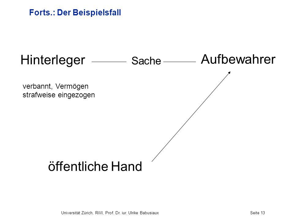 Universität Zürich, RWI, Prof. Dr. iur. Ulrike BabusiauxSeite 13 Forts.: Der Beispielsfall öffentliche Hand verbannt, Vermögen strafweise eingezogen A