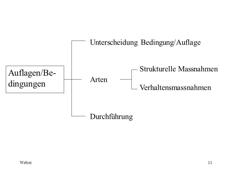 Weber11 Auflagen/Be- dingungen Unterscheidung Bedingung/Auflage Arten Durchführung Strukturelle Massnahmen Verhaltensmassnahmen