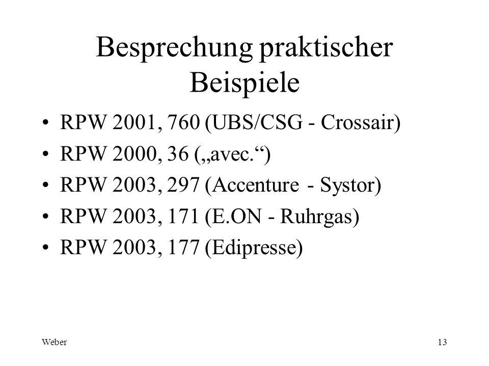 Weber13 Besprechung praktischer Beispiele RPW 2001, 760 (UBS/CSG - Crossair) RPW 2000, 36 (avec.) RPW 2003, 297 (Accenture - Systor) RPW 2003, 171 (E.ON - Ruhrgas) RPW 2003, 177 (Edipresse)