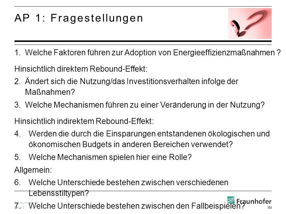 © Fraunhofer ISI Seite 3 1.Welche Faktoren führen zur Adoption von Energieeffizienzmaßnahmen ? Hinsichtlich direktem Rebound-Effekt: 2.Ändert sich die