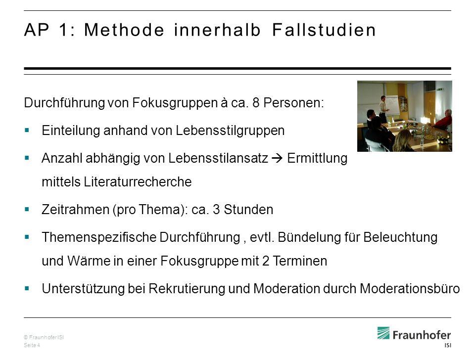 © Fraunhofer ISI Seite 4 Durchführung von Fokusgruppen à ca.