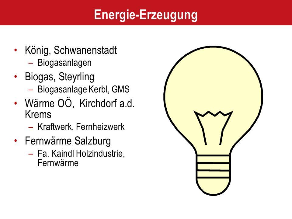 Energie-Erzeugung König, Schwanenstadt –Biogasanlagen Biogas, Steyrling –Biogasanlage Kerbl, GMS Wärme OÖ, Kirchdorf a.d. Krems –Kraftwerk, Fernheizwe