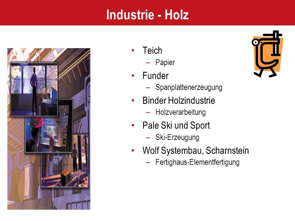 Industrie - Holz Teich –Papier Funder –Spanplattenerzeugung Binder Holzindustrie –Holzverarbeitung Pale Ski und Sport –Ski-Erzeugung Wolf Systembau, Scharnstein –Fertighaus-Elementfertigung