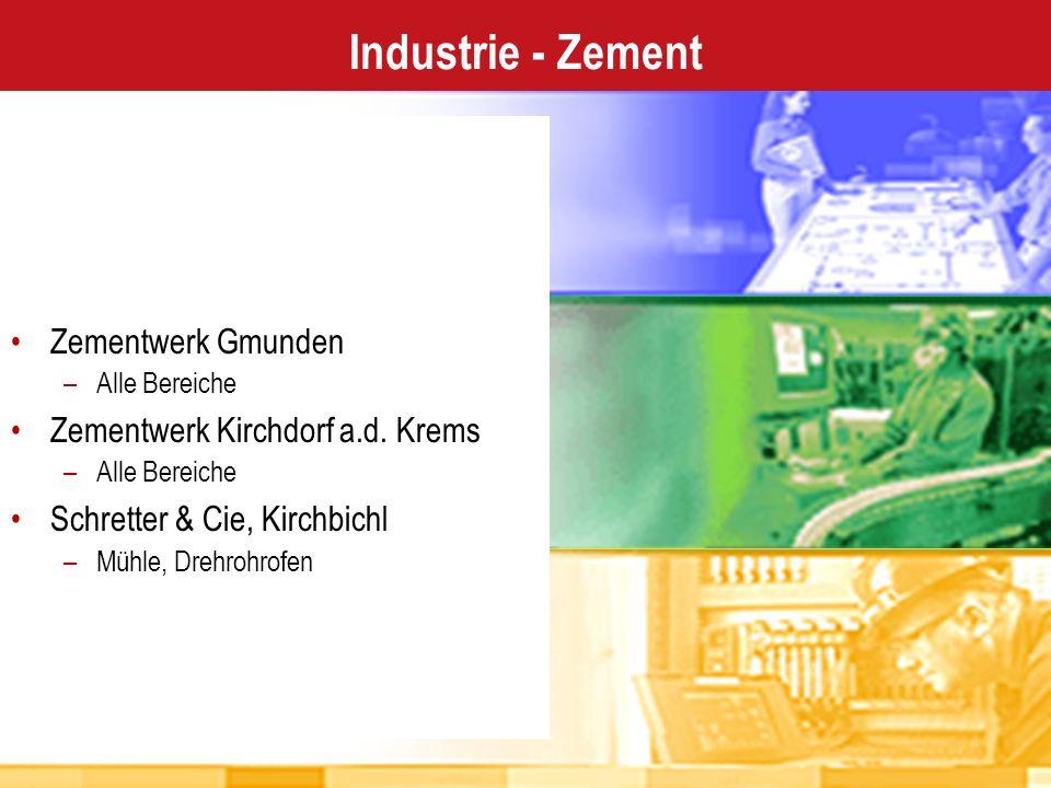 Design Design Operate Operate Maintain Maintain Industrie - Zement Zementwerk Gmunden –Alle Bereiche Zementwerk Kirchdorf a.d. Krems –Alle Bereiche Sc