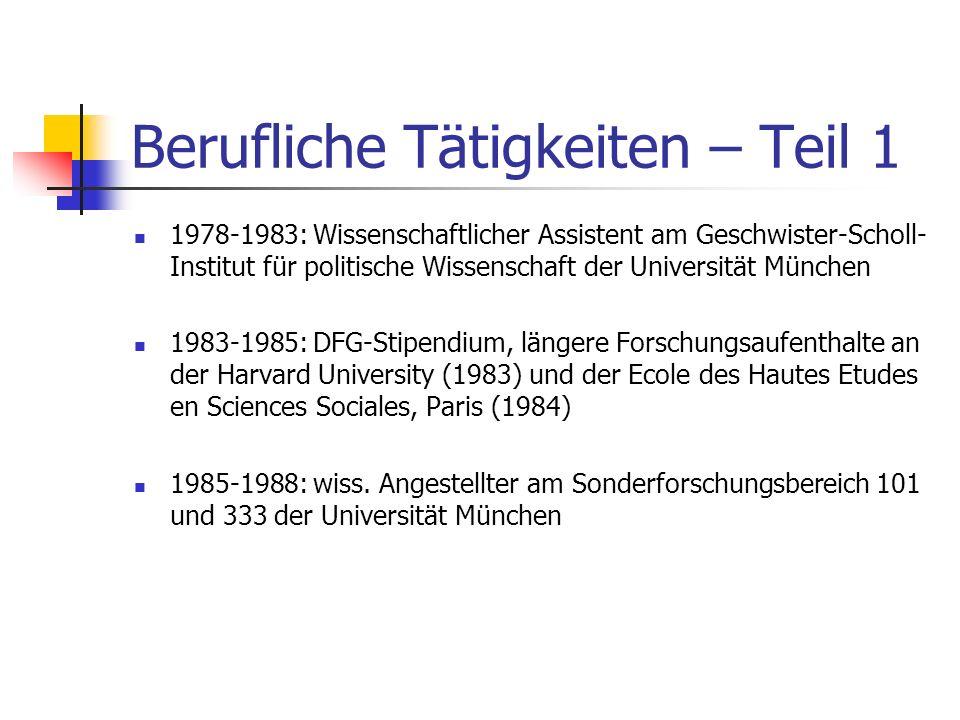 Bildungsgang – Teil 2 1980: Promotion (Dr. rer. pol.) an der Universität München 1995: Habilitation an der Freien Universität Berlin
