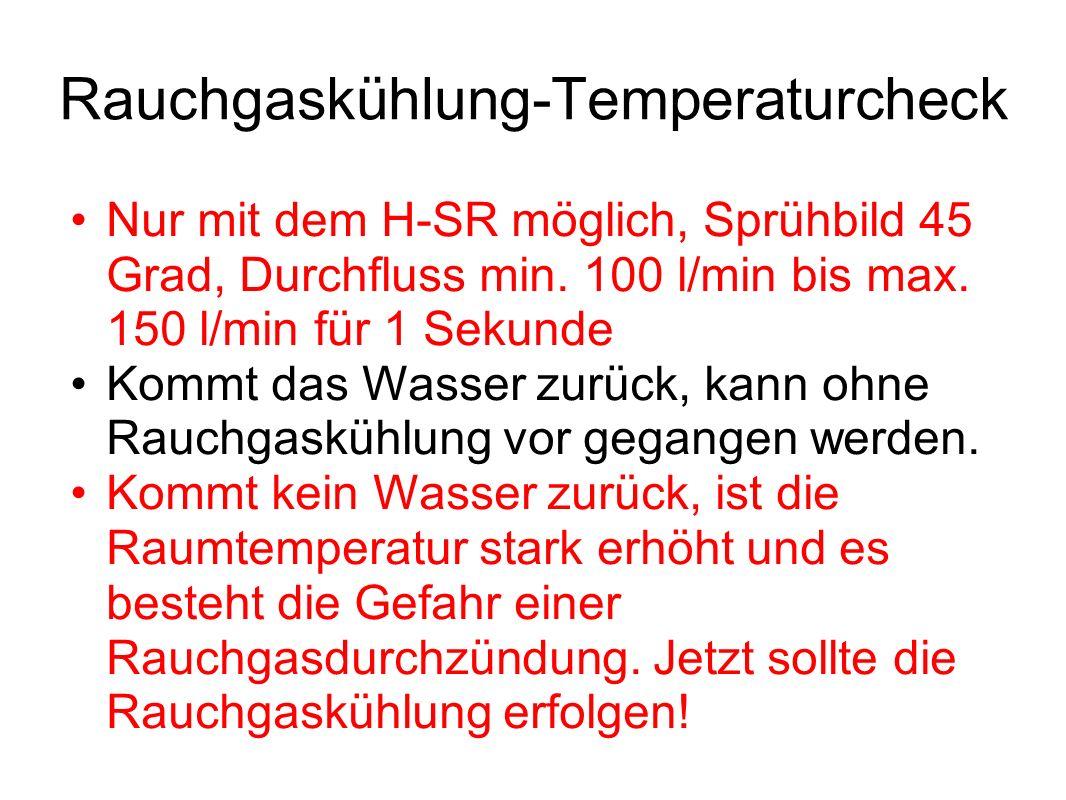 Rauchgaskühlung-Temperaturcheck Nur mit dem H-SR möglich, Sprühbild 45 Grad, Durchfluss min. 100 l/min bis max. 150 l/min für 1 Sekunde Kommt das Wass