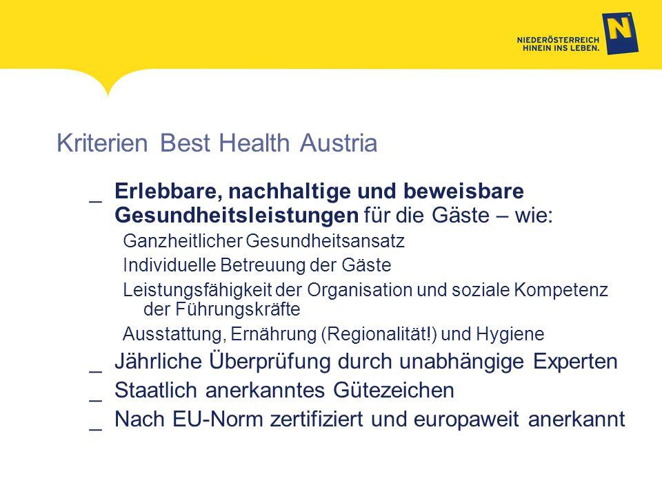 Kriterien Best Health Austria _Erlebbare, nachhaltige und beweisbare Gesundheitsleistungen für die Gäste – wie: Ganzheitlicher Gesundheitsansatz Indiv
