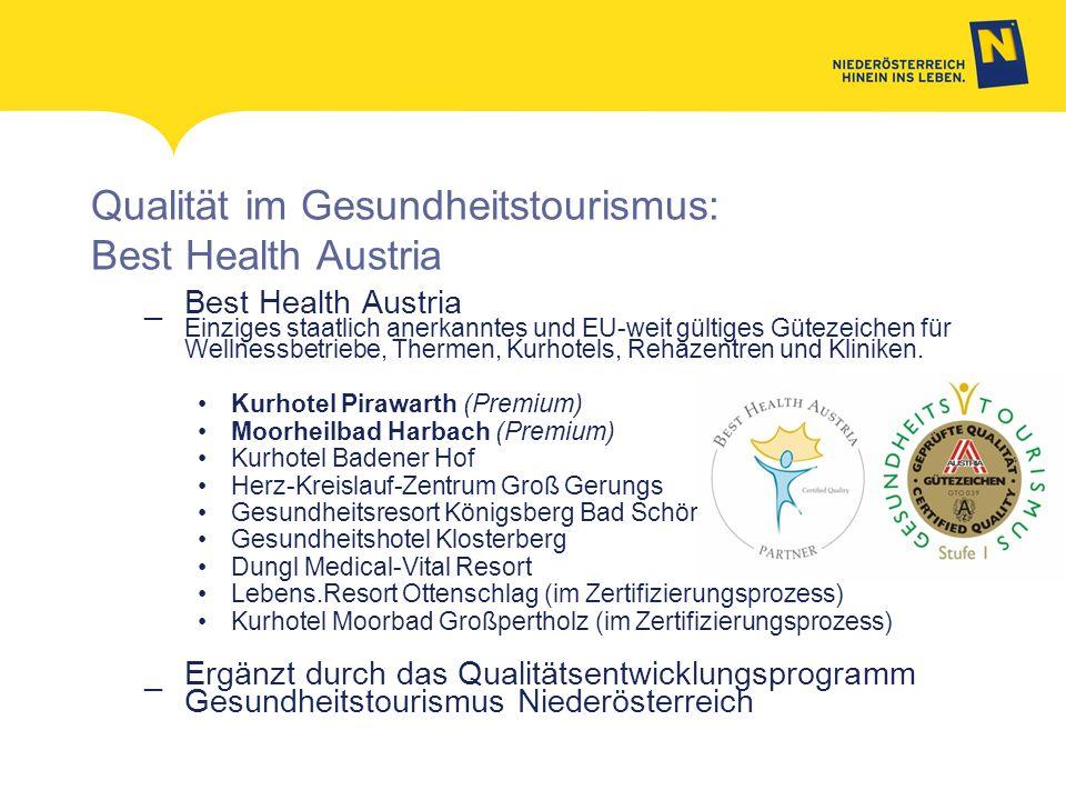 Qualität im Gesundheitstourismus: Best Health Austria _Best Health Austria Einziges staatlich anerkanntes und EU-weit gültiges Gütezeichen für Wellnes