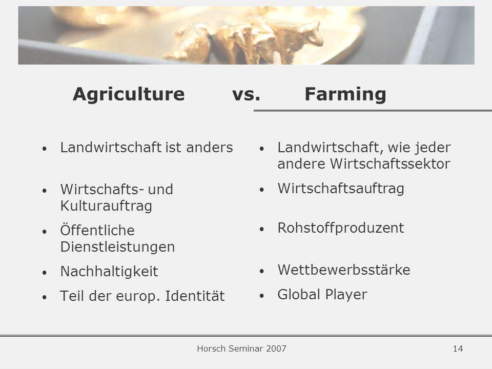 Horsch Seminar 200714 Agriculturevs.Farming Landwirtschaft ist anders Wirtschafts- und Kulturauftrag Öffentliche Dienstleistungen Nachhaltigkeit Teil der europ.