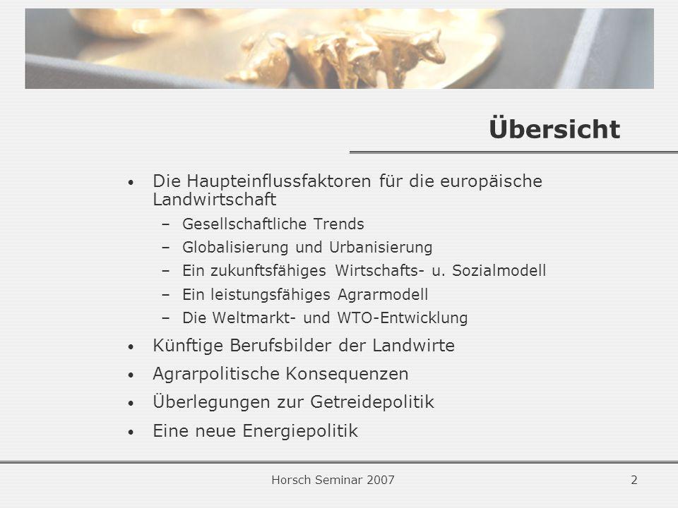 Horsch Seminar 20072 Übersicht Die Haupteinflussfaktoren für die europäische Landwirtschaft –Gesellschaftliche Trends –Globalisierung und Urbanisierung –Ein zukunftsfähiges Wirtschafts- u.